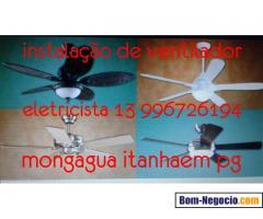 ventilador de teto  instalação eletricista