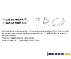 Aulas particulares de percussão e ritmos de Pernambuco para PCD.
