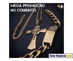 Conjunto Pingente Crucifixo com Pulseira Banhado a ouro 18k