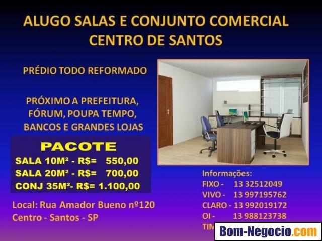 ALUGO SALAS E CONJUTO COMERCIAL NO CENTRO DE SANTOS.