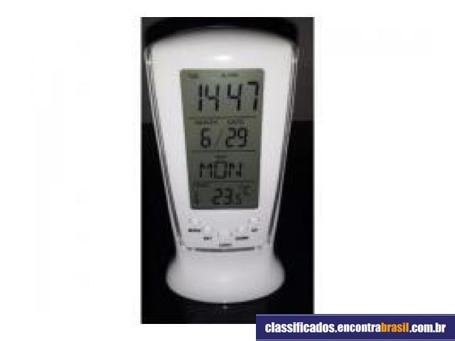 Vendo Relógio Digital Despetador Azul Em Led