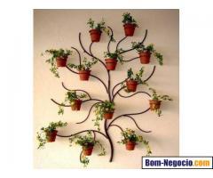 Suportes de vasos de plantas, painéis, iluminarias