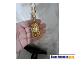 Cordao de Prata Banhado a Ouro Modelo Cartier